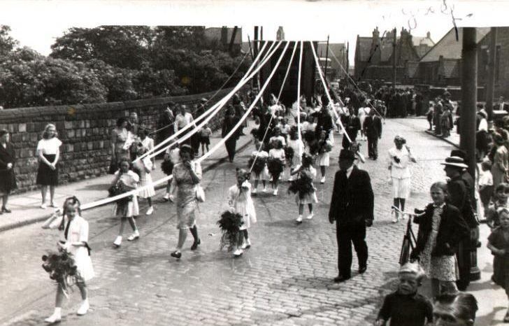 Walking Day, St. Mary's Church in Lower Ince, 1950.
