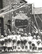 Bridgecroft Street, of Scholars about to walk from Bridgecroft Chapel, June 10, 1950.