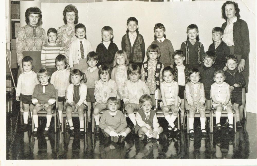 Nursery children and staff 1971