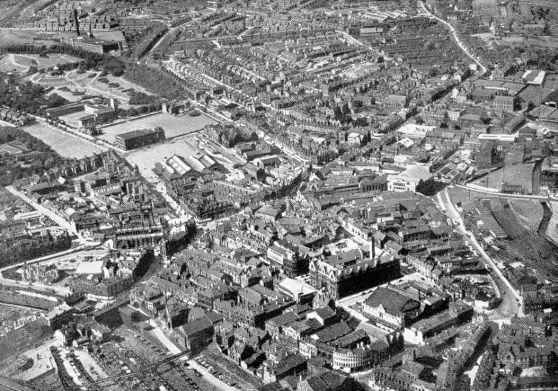 Aerial photo of Wigan Town Centre