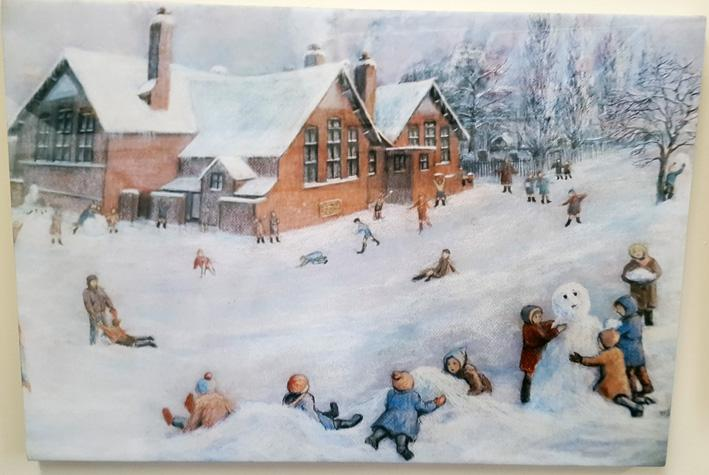 Playtime in the snow at Park Lane school circa 1950.