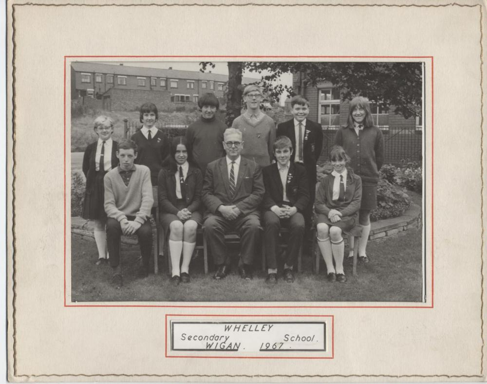 Mr Millar and prefects, Whelley Secondary School 1967