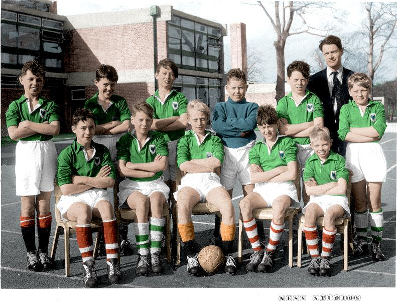 Up Holland Secondary School 1st. Year (1960-61) Football Team - colourised
