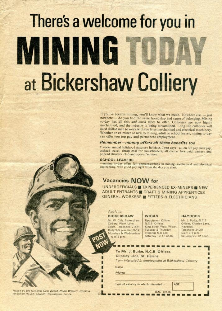 1966 Bickershaw Colliery Advert