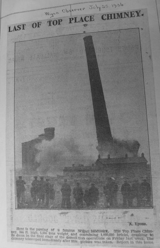 DEMOLITION OF CHIMNEY  JULY 25th 1936
