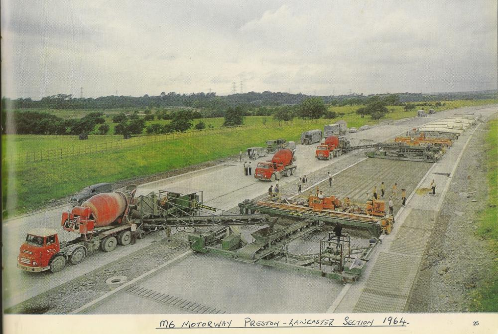 Concrete Train on the M6 construction in Lancashire.