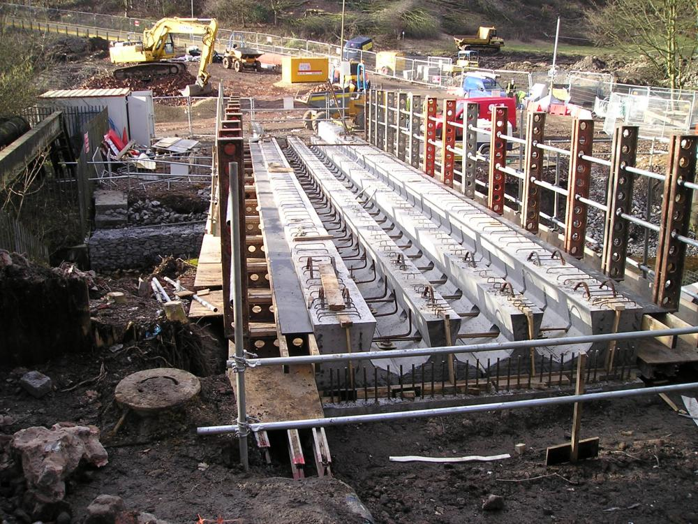 Pedestrian Bridge -Precast concrete beams prior to decking being cast.10-02-10..