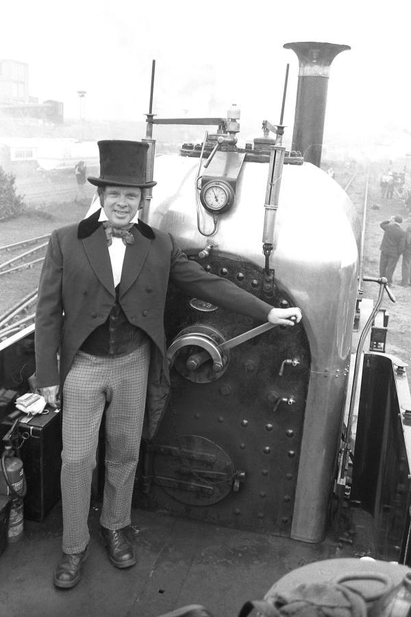 Driver Tony Taylor, on the footplate of Lion, Bold May 1980.
