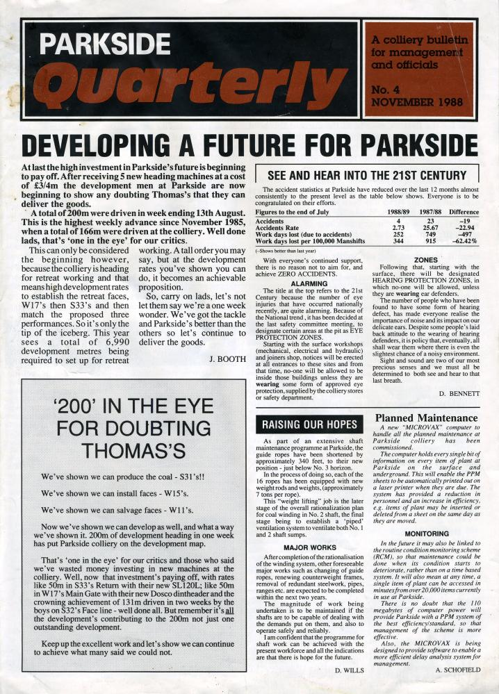 Parkside colliery Quarterly Newsletter - Nov 1998 -001