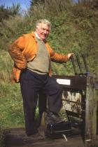 Springs Branch guard, Ernie Phillips, working Appley Bridge ground frame, 1991.