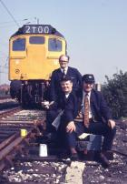 Springs Branch train crew, guard Alf Jones (standing), driver Frank Bache and his mate Jack Birchmore, 1974.