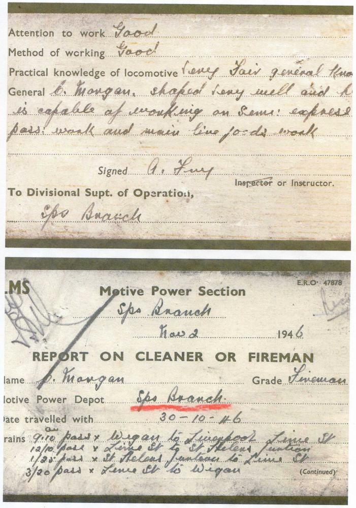 LMS, Springs Branch MPD, Report on Cleaner or Fireman, 1946 (small card)