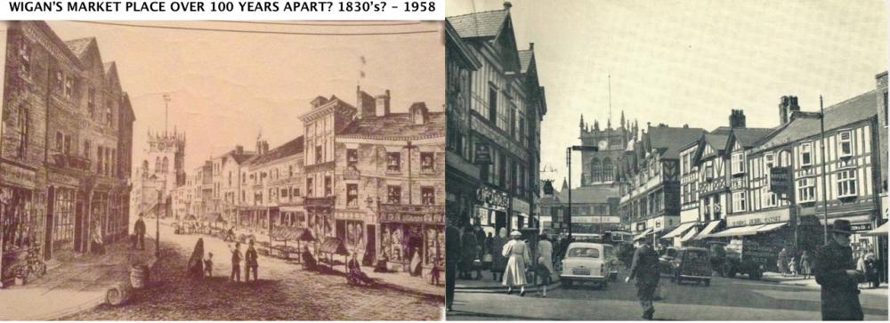 Views of Wigan's Market Place, over 100 years apart.