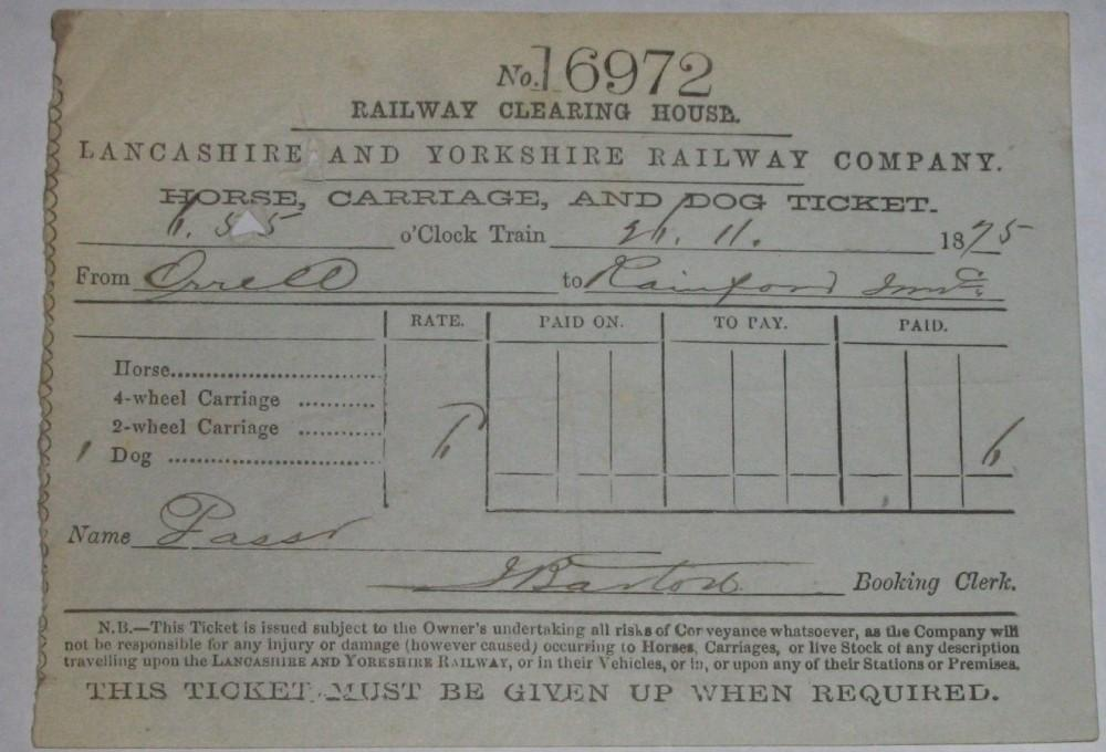 Dog Train Ticket 1875