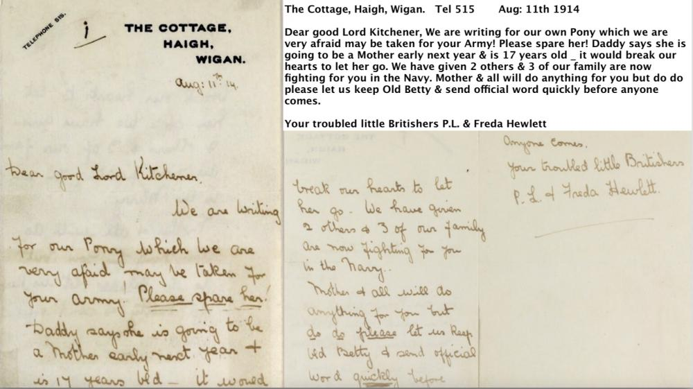 Pony Plea from Haigh Cottage WW1 1914