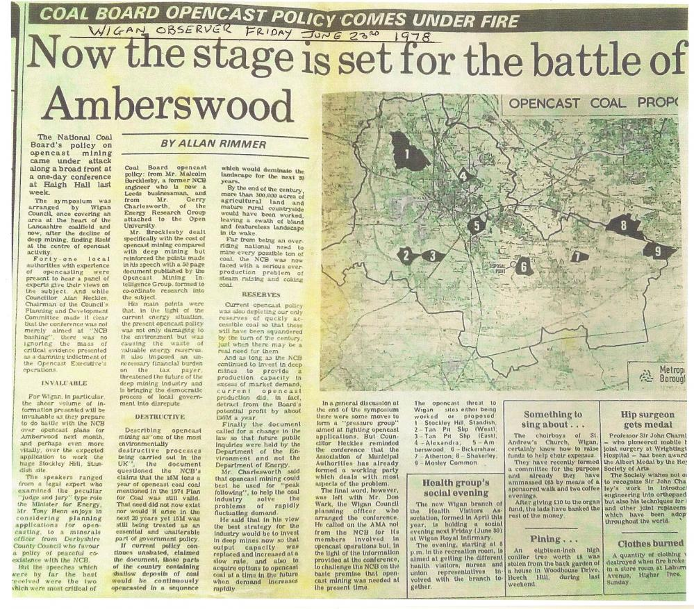 Stage is set for the battle of Amberswood.(from Wigan Observer 1978)
