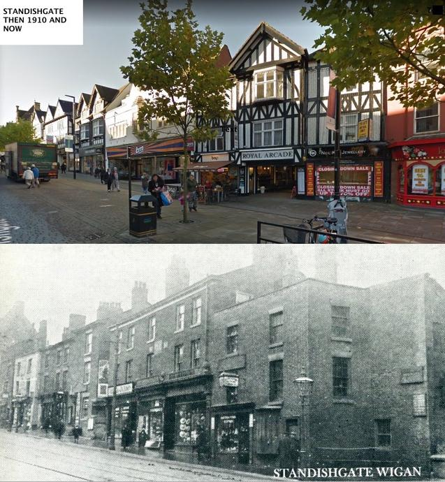 "Standishgate 1910 - comparison with ""now""."