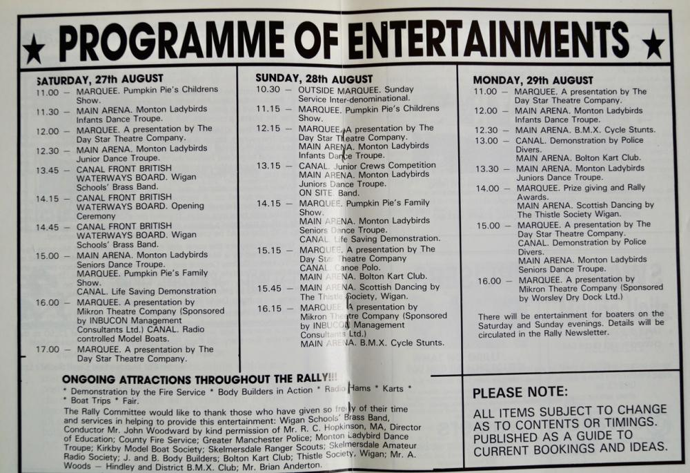 Programme for the IWA's 1983 Wigan Pier Rally