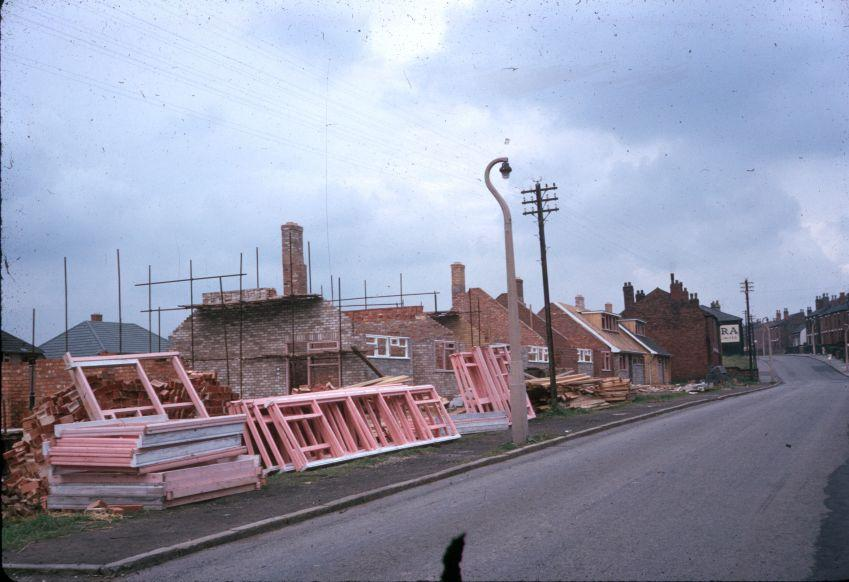 Houses construction on Bryn Road, 1964.