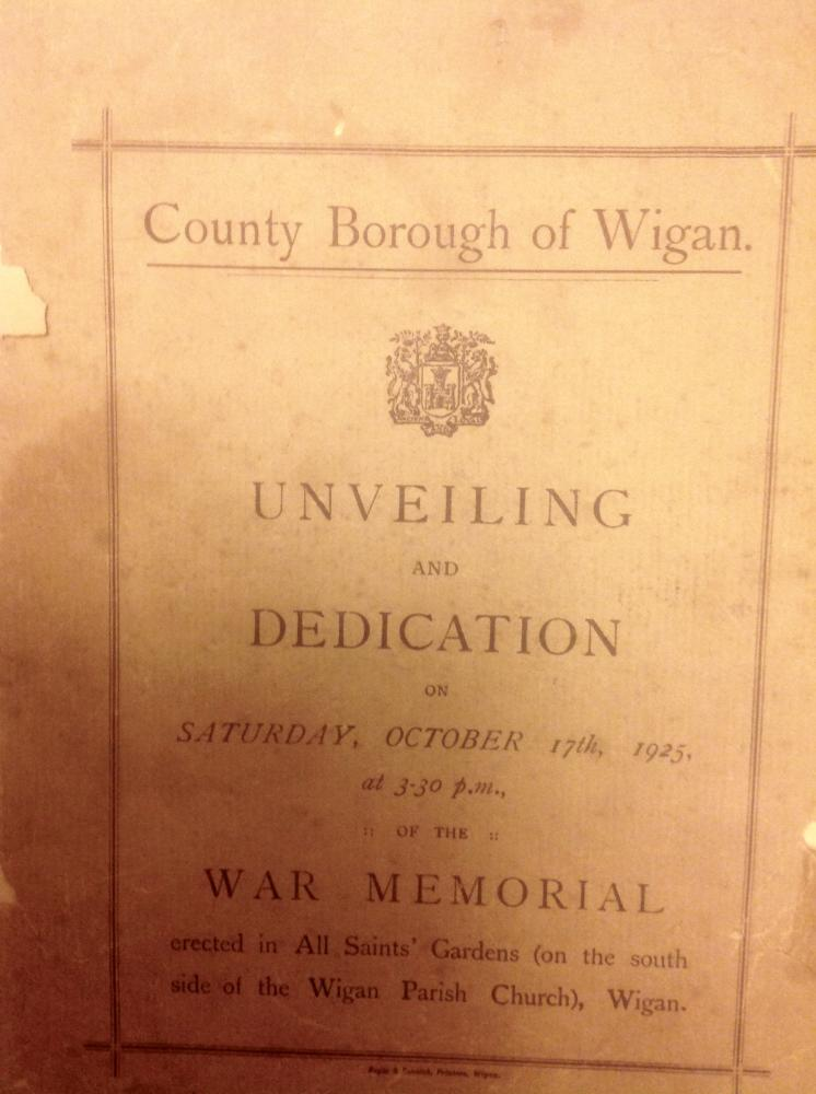 Unveiling and Dedication of the war memorial