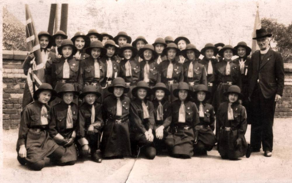 Rev Bryson with Girl Guides 1933 or 1934
