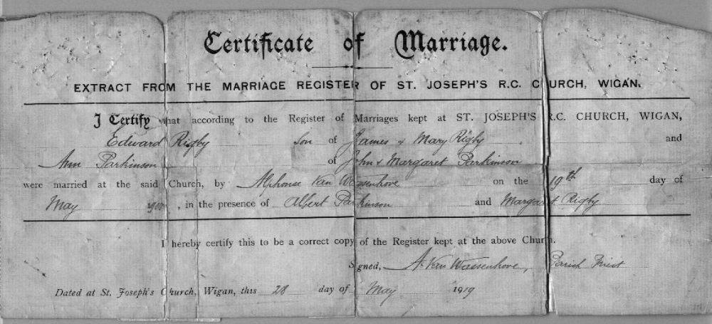 Marriage certificate, 1919.