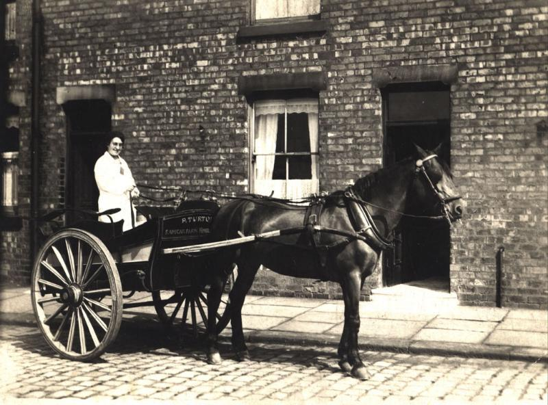 Hilda Rigby delivering milk from Ranicar Farm, Long Lane, Hindley Green.