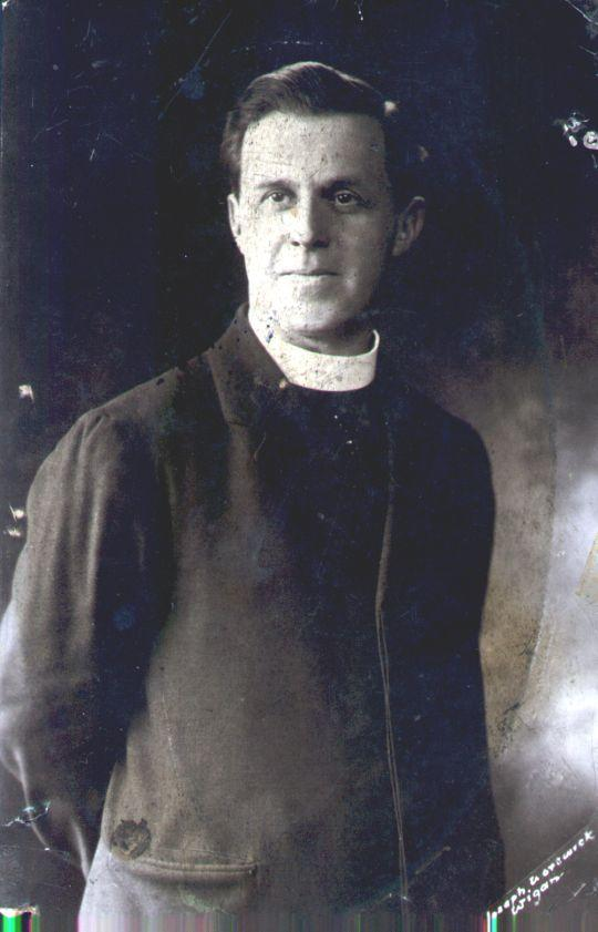 Father Carney, Catholic priest at St Patrick's Wigan, c1919.