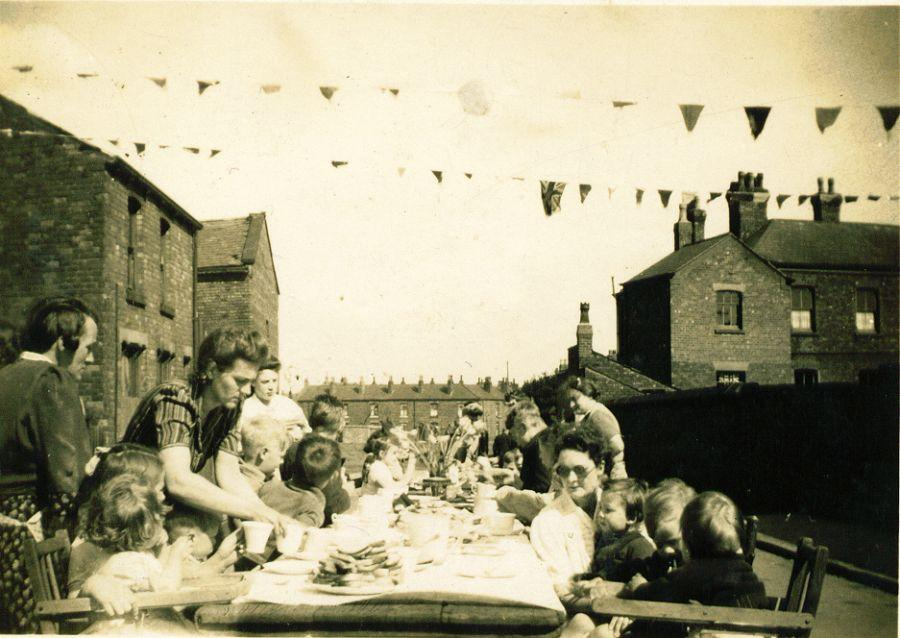 VE or VJ day in Millers Lane, Platt Bridge.