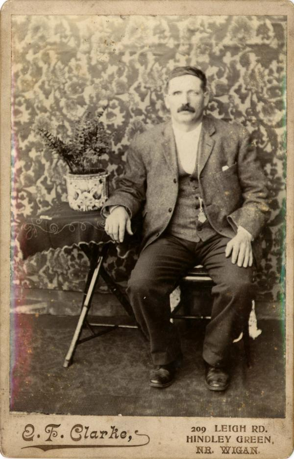 Thomas Topping (bn 1854) who ran the Cow and Calves Hotel in Hindley Green c1900.