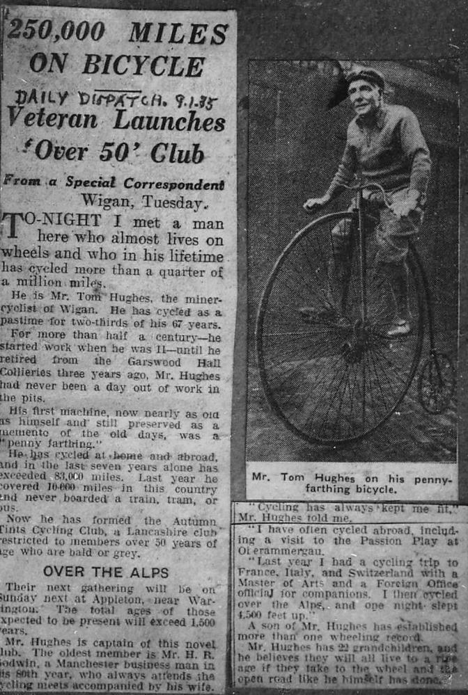 Tom Hughes Daily Dispatch newspaper cutting 1935
