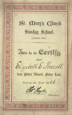 Sunday School certificate St Mary's Ince