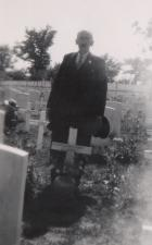 George Myers visiting Herberts grave 1949