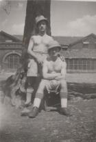 George Myers with a pal in The Manchester Regiment