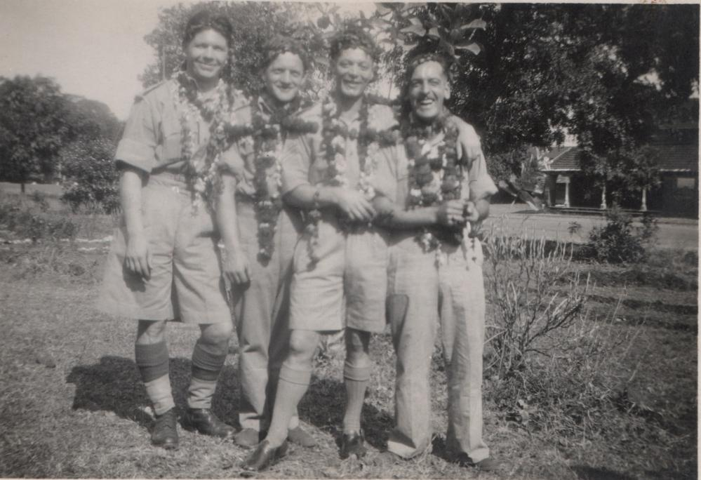 George Myers in Burma with pals