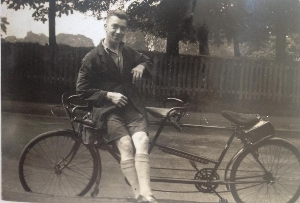 John Jackson pictured as one, with his favoured mode of transportation.