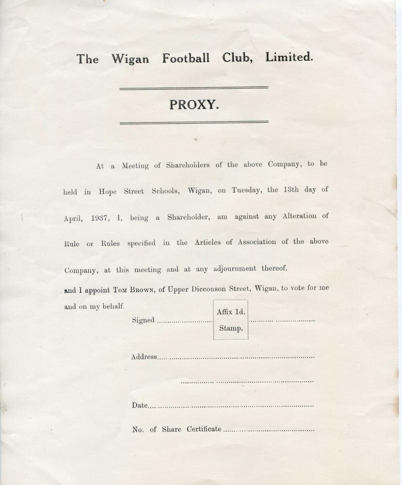 Wigan Football Club Limited Proxy Shareholders Form 1937.