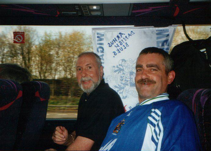 Phil (alias Tom selleck Magnum) Owen as father xmas on the coach to wembley.