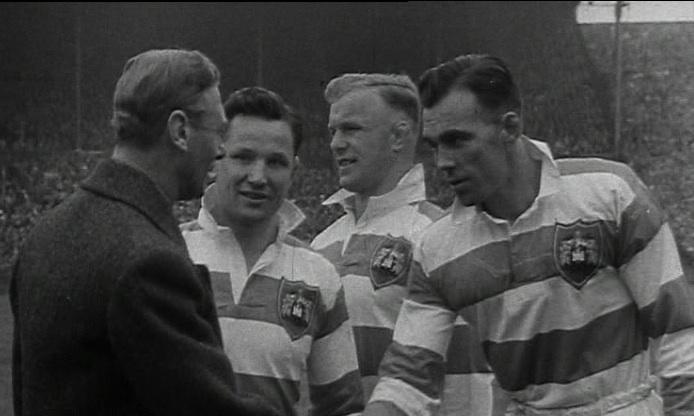 King George V meets the Wigan players