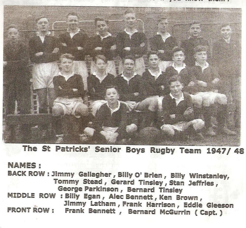 St Patrick's !947/48 schoolboy rugby team
