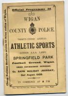 Wigan County Police, Sports Programme Cover,1926