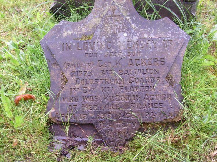 Grave stone. K. Ackers