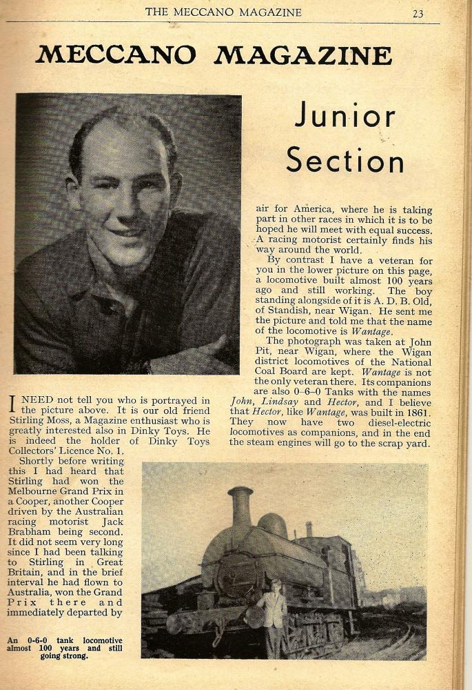 "January 1959-page 23 Meccano Magazine featuring ""Wantage"""