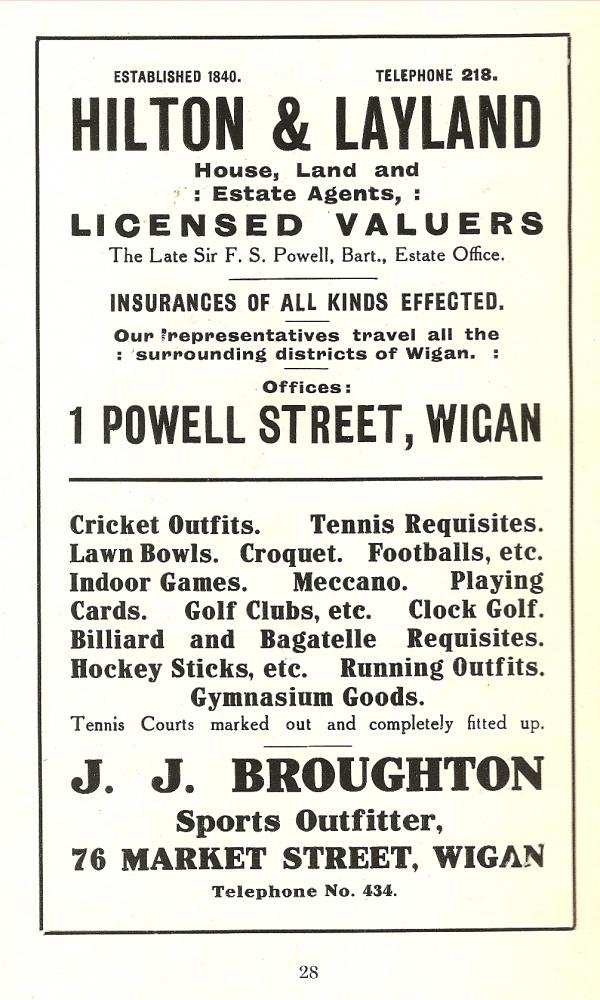 1914 Advert for J.J.Broughton.