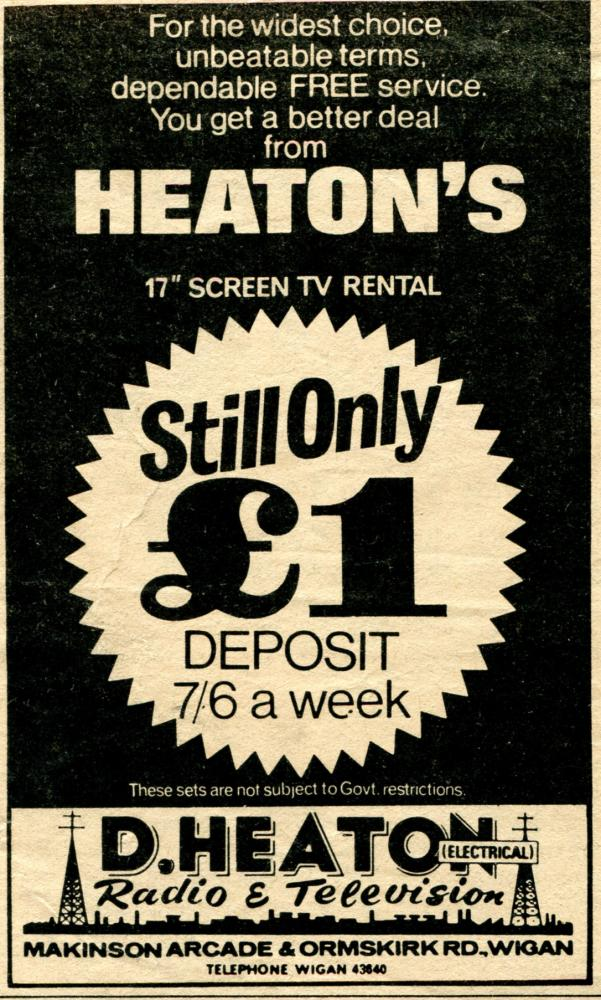 1966 Heaton's TV Rentals Advertisement