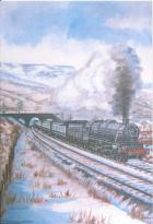 Painting of LMS 5305 by Standish Artist Robert Overton 1982.