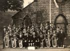 Haigh Prize Band taken outside Our Lady's Church, Haigh in 1955.