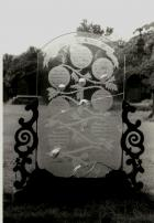 Engraved plate glass monument in Wigan Cemetery