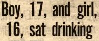 Boy, 17, and girl, 16, sat drinking
