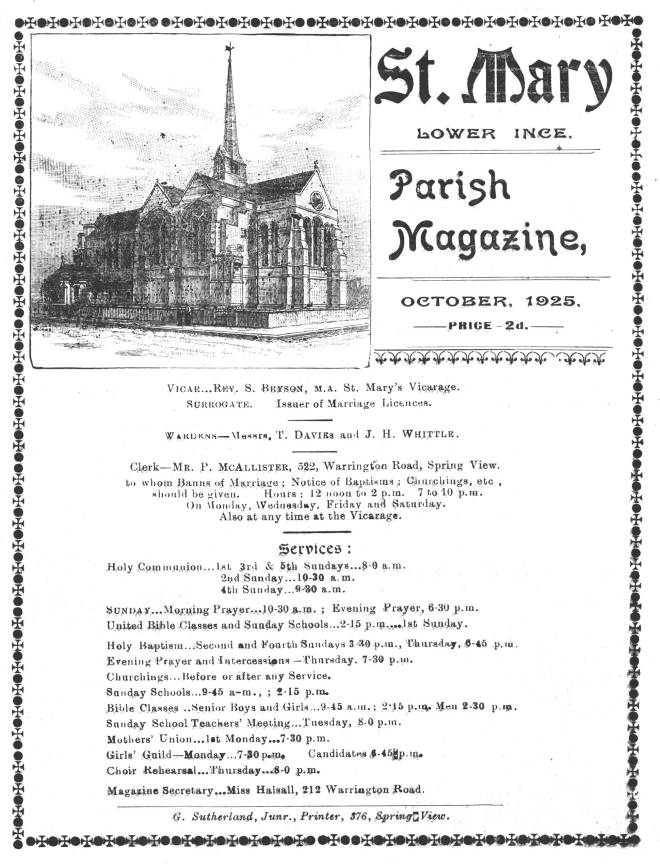 Parish Magazines of St Mary, Lower Ince.